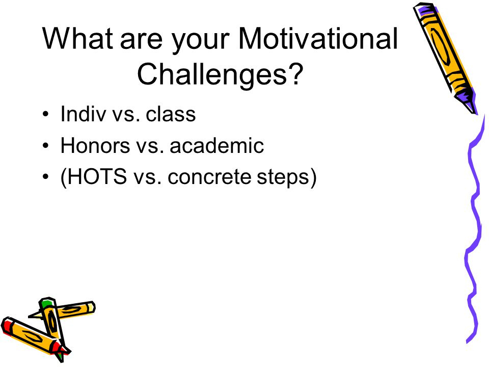 What are your Motivational Challenges.Indiv vs. class Honors vs.