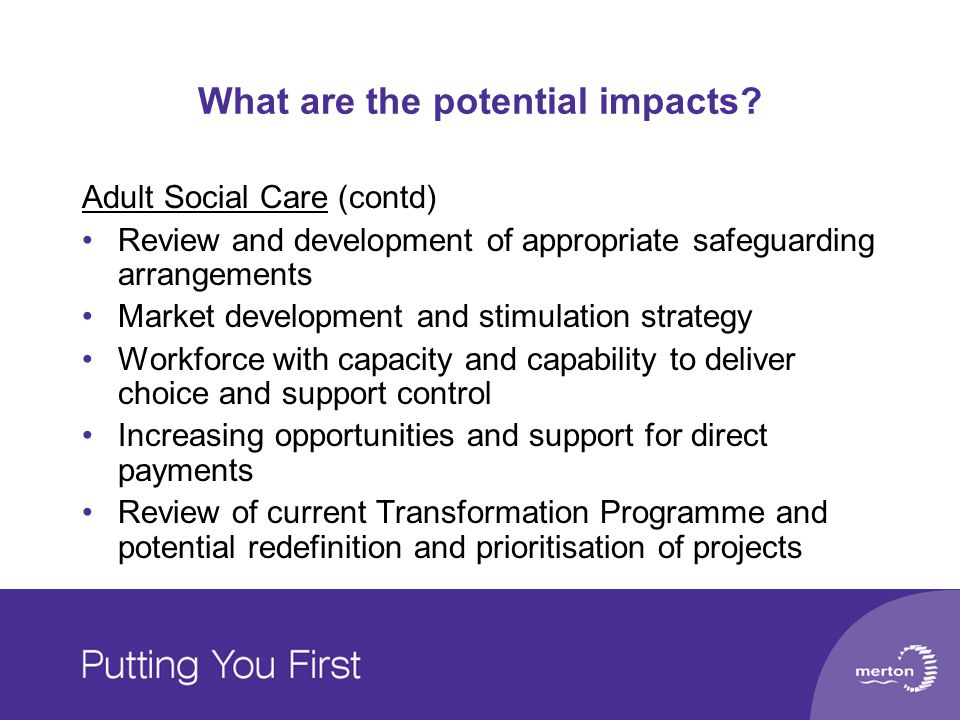 What are the potential impacts? Adult Social Care (contd) Review and development of appropriate safeguarding arrangements Market development and stimu