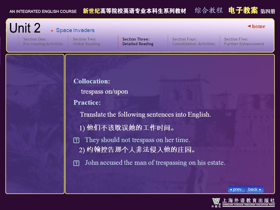 ◄ home Section Two: Global Reading Section Three: Detailed Reading 3.text5_W_trespass2 Section One: Pre-reading Activities Section Four: Consolidation Activities Section Five: Further Enhancement Space Invaders 1) 他们不该耽误她的工作时间。 2) 约翰控告那个人非法侵入他的庄园。 Practice: They should not trespass on her time.