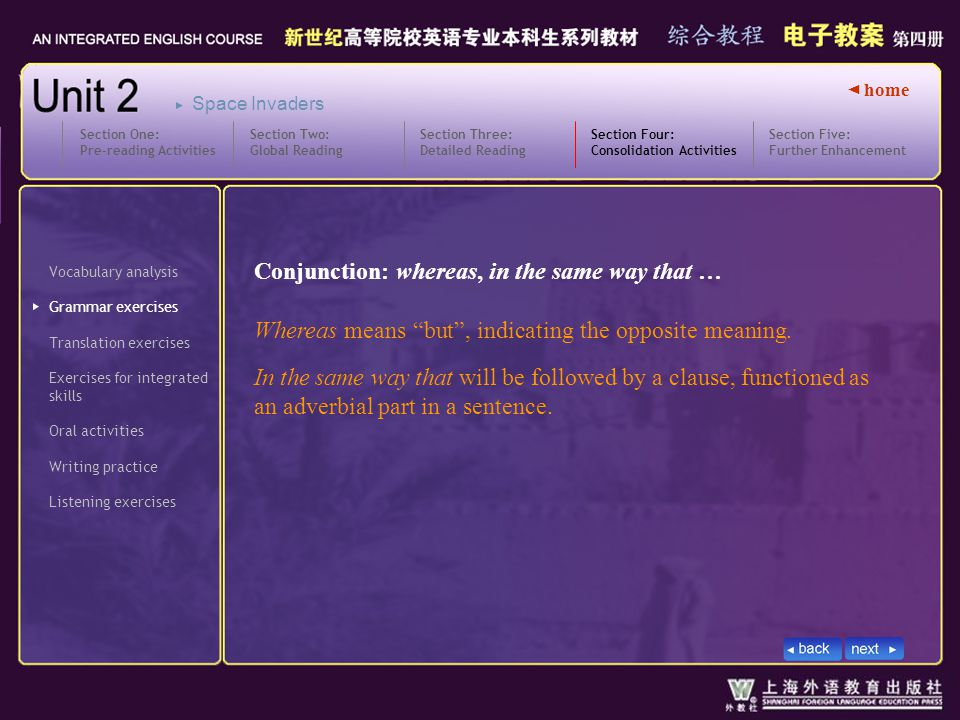 ◄ home Vocabulary analysis Grammar exercises Translation exercises Section Four: Consolidation Activities Section Four_ GIV Exercises for integrated skills Oral activities Writing practice Listening exercises Section Five: Further Enhancement Section One: Pre-reading Activities Section Two: Global Reading Section Three: Detailed Reading Space Invaders Conjunction: whereas, in the same way that … Whereas means but , indicating the opposite meaning.