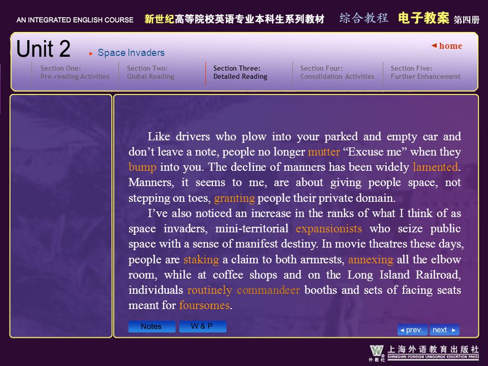 ◄ home Section Two: Global Reading Section Three: Detailed Reading 3.text6-7_W Section One: Pre-reading Activities Section Four: Consolidation Activities Section Five: Further Enhancement Space Invaders Like drivers who plow into your parked and empty car and don't leave a note, people no longer mutter Excuse me when they bump into you.