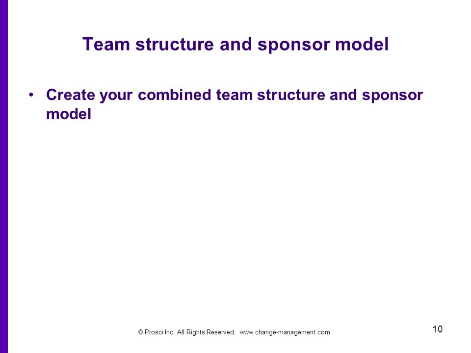 © Prosci Inc. All Rights Reserved. www.change-management.com 10 Team structure and sponsor model Create your combined team structure and sponsor model