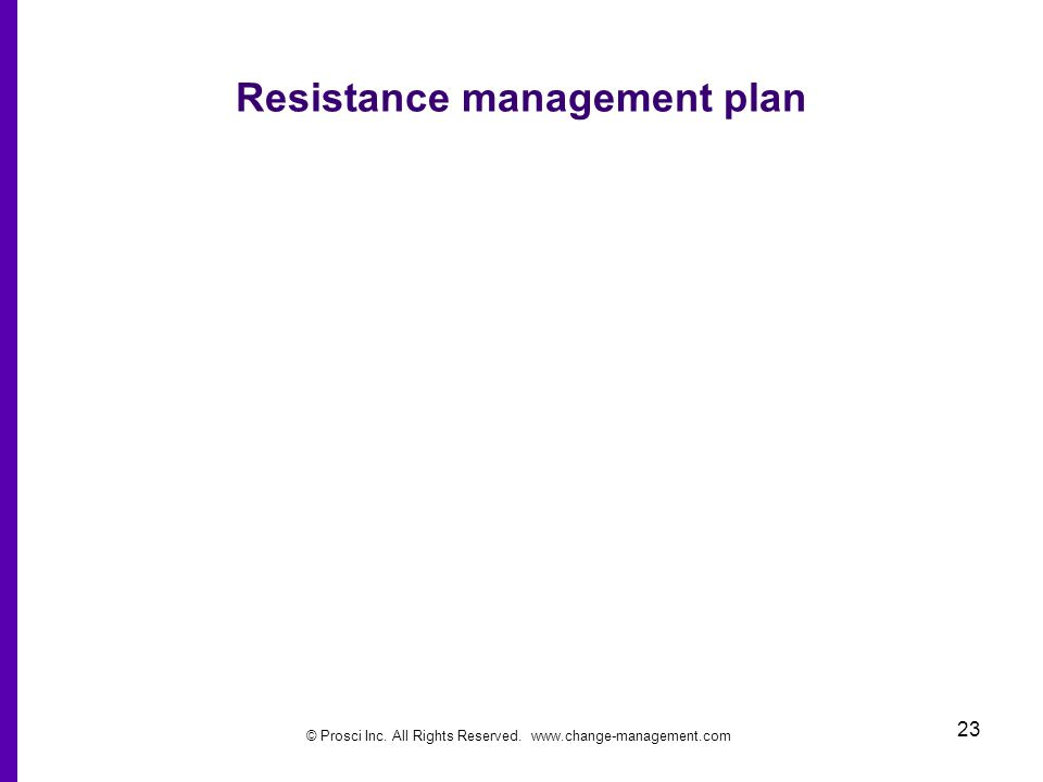 © Prosci Inc. All Rights Reserved. www.change-management.com 23 Resistance management plan