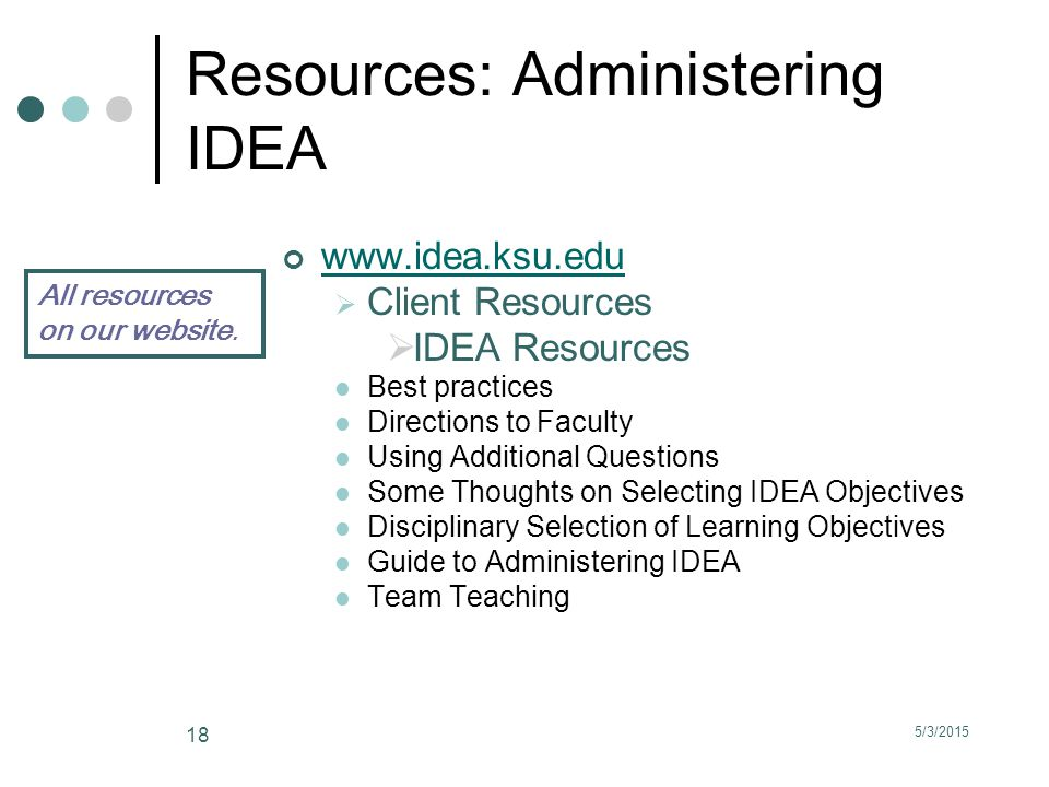 5/3/2015 18 Resources: Administering IDEA www.idea.ksu.edu  Client Resources  IDEA Resources Best practices Directions to Faculty Using Additional Questions Some Thoughts on Selecting IDEA Objectives Disciplinary Selection of Learning Objectives Guide to Administering IDEA Team Teaching All resources on our website.