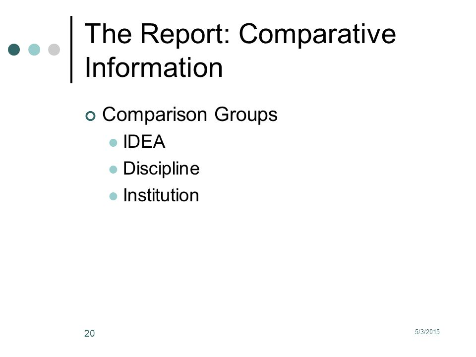 5/3/2015 20 The Report: Comparative Information Comparison Groups IDEA Discipline Institution