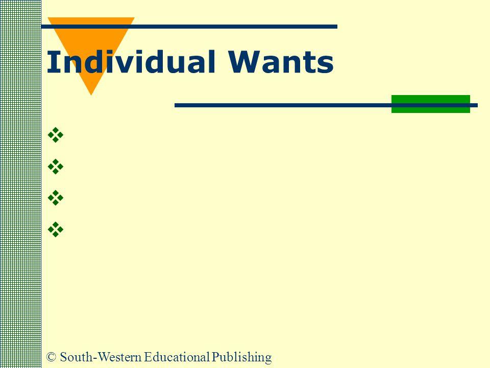 © South-Western Educational Publishing Individual Wants    
