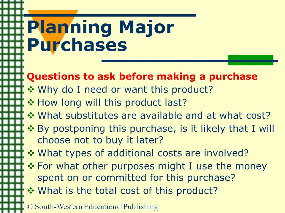 © South-Western Educational Publishing Planning Major Purchases Questions to ask before making a purchase  Why do I need or want this product?  How