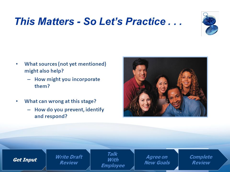 | | This Matters - So Let's Practice... Get Input Write Draft Review Talk With Employee Agree on New Goals Complete Review What sources (not yet menti