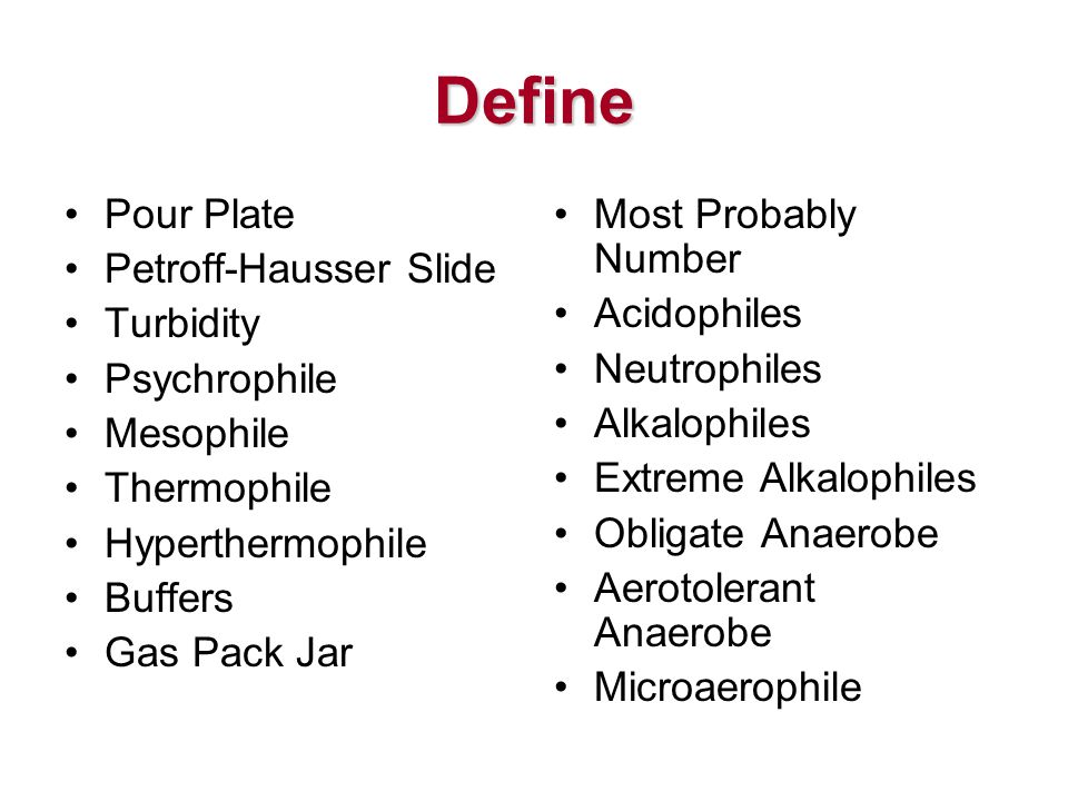 Define Pour Plate Petroff-Hausser Slide Turbidity Psychrophile Mesophile Thermophile Hyperthermophile Buffers Gas Pack Jar Most Probably Number Acidophiles Neutrophiles Alkalophiles Extreme Alkalophiles Obligate Anaerobe Aerotolerant Anaerobe Microaerophile