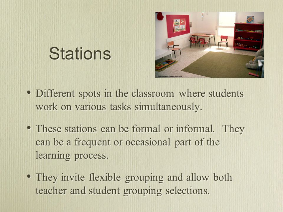 Stations Different spots in the classroom where students work on various tasks simultaneously.
