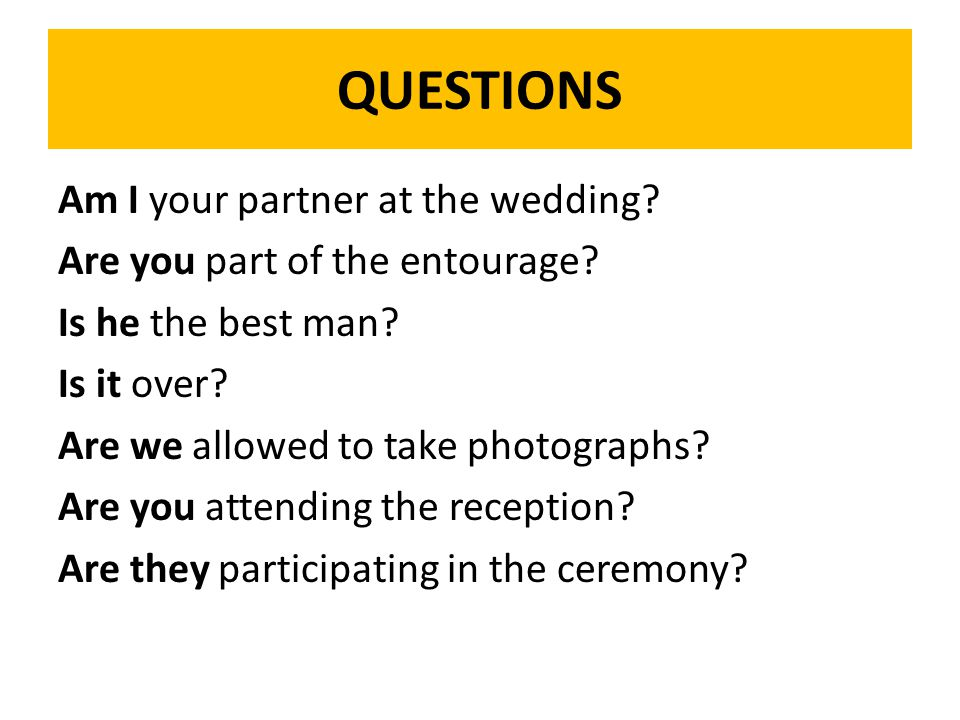QUESTIONS Am I your partner at the wedding. Are you part of the entourage.