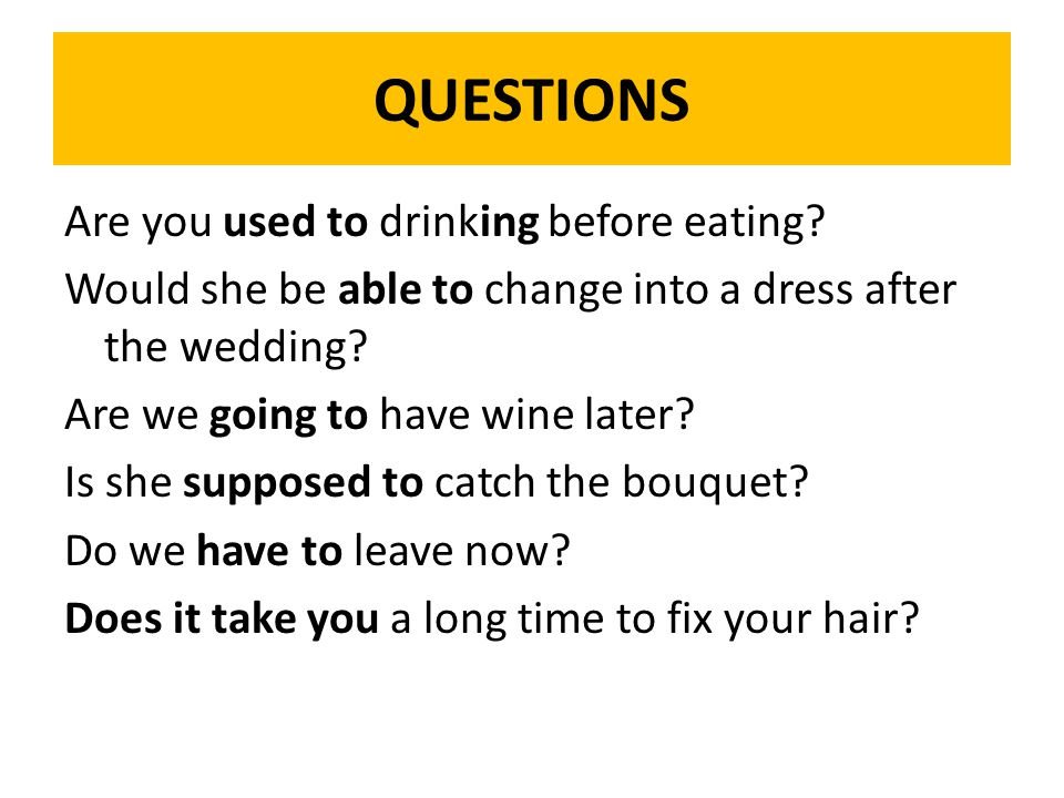 QUESTIONS Are you used to drinking before eating.