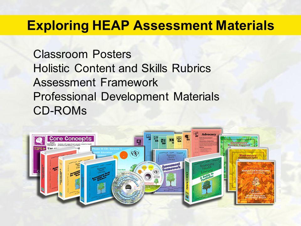 Exploring HEAP Assessment Materials Classroom Posters Holistic Content and Skills Rubrics Assessment Framework Professional Development Materials CD-ROMs