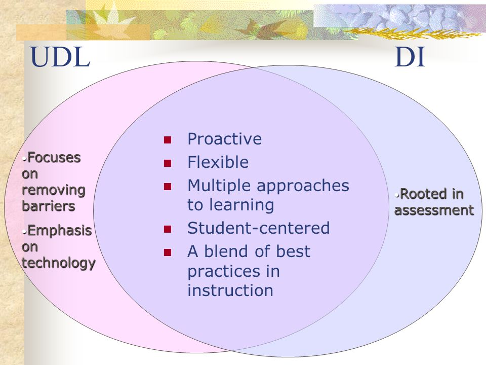 UDL DI Proactive Flexible Multiple approaches to learning Student-centered A blend of best practices in instruction Rooted in assessment Rooted in ass