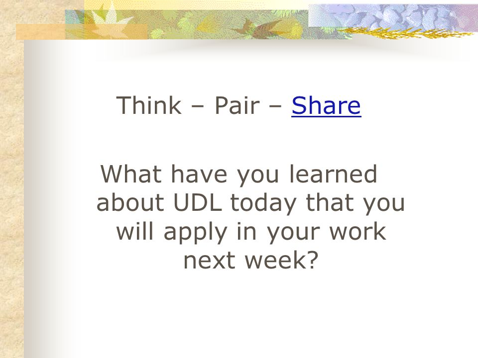 Think – Pair – ShareShare What have you learned about UDL today that you will apply in your work next week?