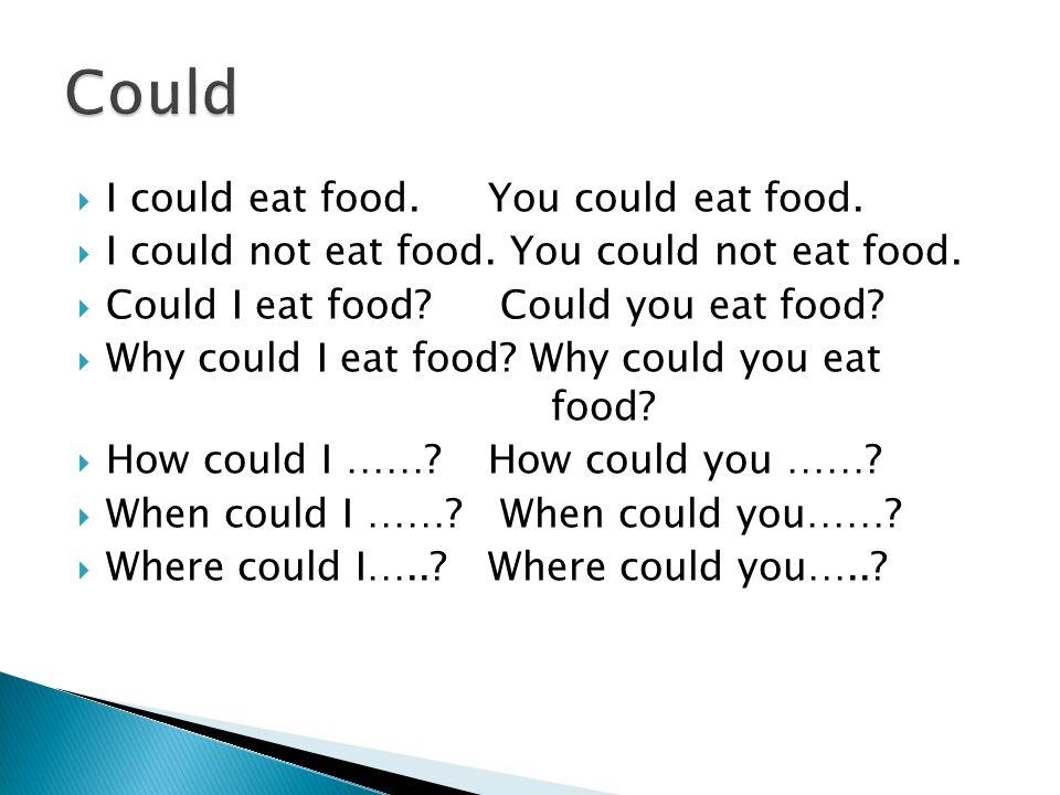  I could eat food.You could eat food.  I could not eat food.