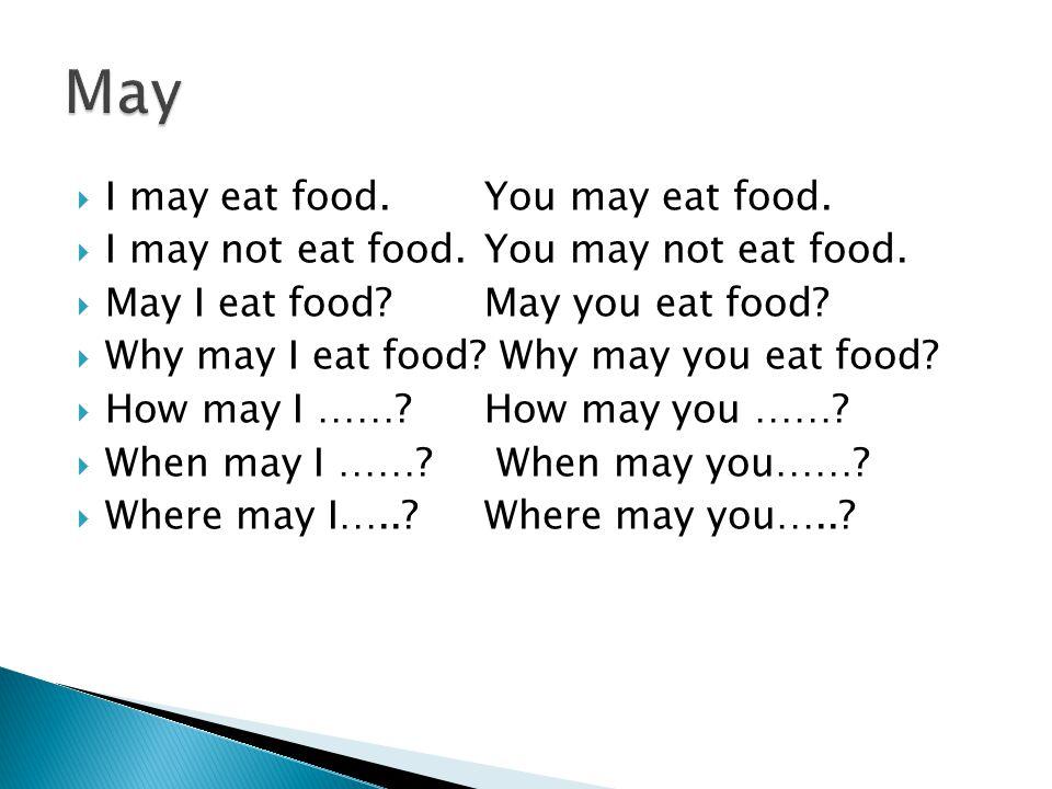  I may eat food.You may eat food.  I may not eat food.You may not eat food.