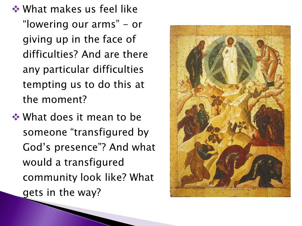 """ What makes us feel like """"lowering our arms"""" - or giving up in the face of difficulties? And are there any particular difficulties tempting us to do"""