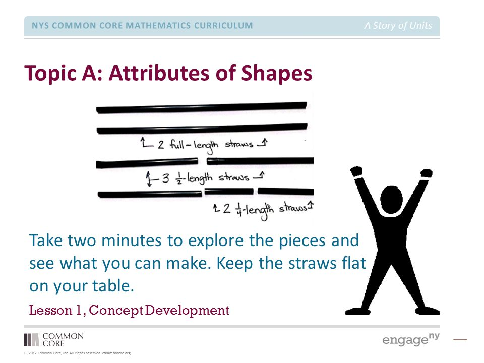 © 2012 Common Core, Inc. All rights reserved. commoncore.org NYS COMMON CORE MATHEMATICS CURRICULUM A Story of Units Topic A: Attributes of Shapes Les