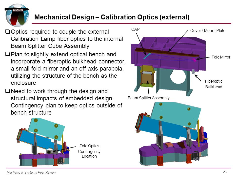 23 Mechanical Systems Peer Review  Optics required to couple the external Calibration Lamp fiber optics to the internal Beam Splitter Cube Assembly  Plan to slightly extend optical bench and incorporate a fiberoptic bulkhead connector, a small fold mirror and an off axis parabola, utilizing the structure of the bench as the enclosure  Need to work through the design and structural impacts of embedded design.