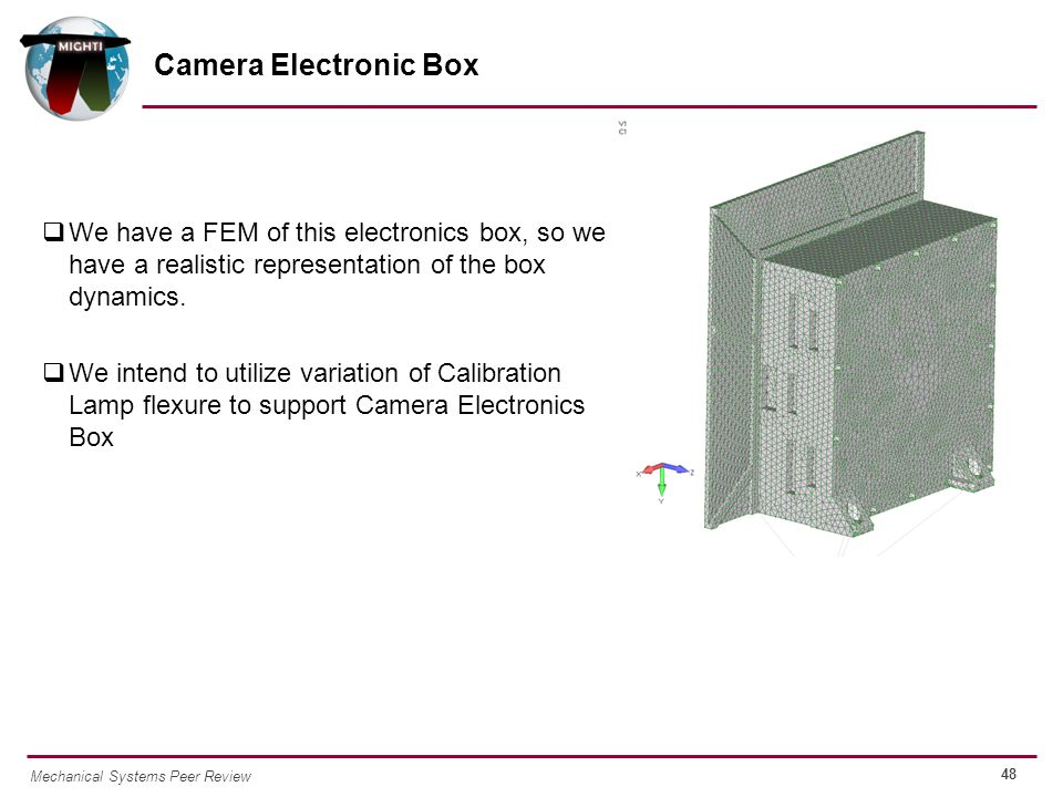 48 Mechanical Systems Peer Review  We have a FEM of this electronics box, so we have a realistic representation of the box dynamics.