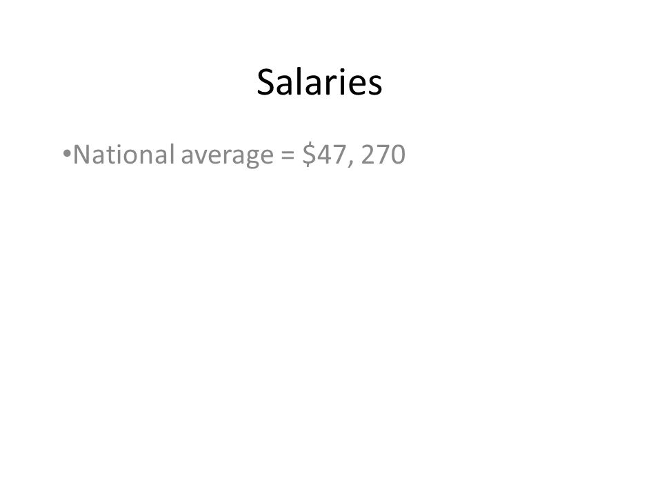 Salaries National average = $47, 270