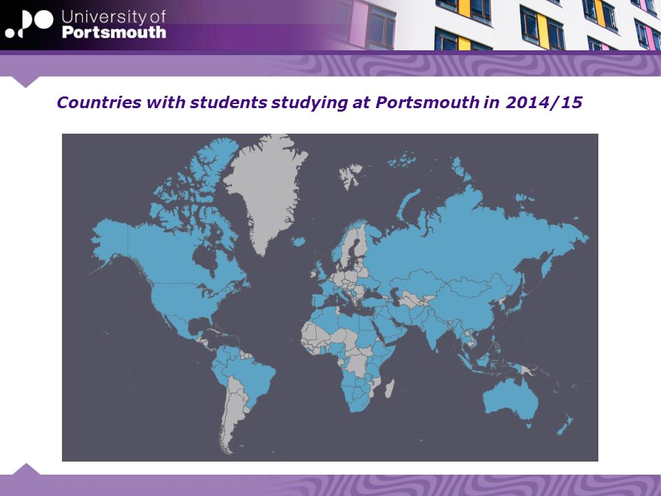 Countries with students studying at Portsmouth in 2014/15