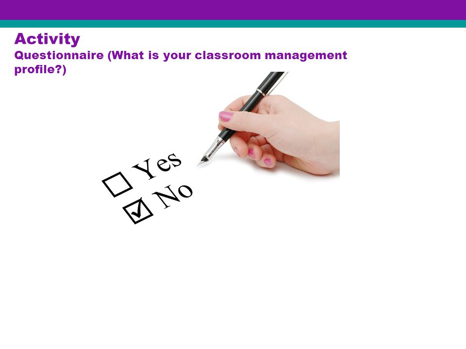 Activity Questionnaire (What is your classroom management profile?)