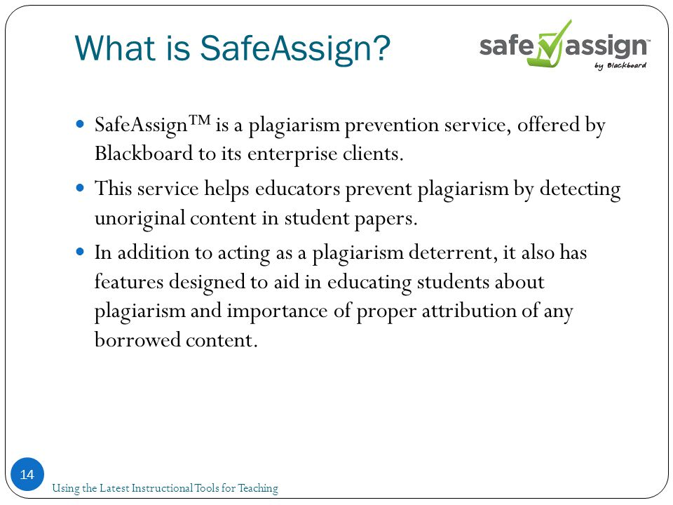 What is SafeAssign.