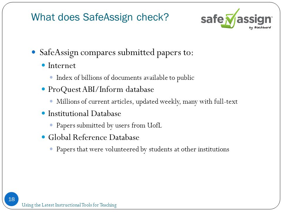 What does SafeAssign check.