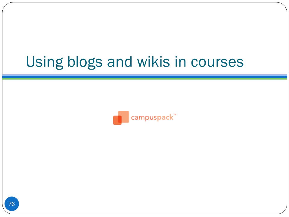 Using blogs and wikis in courses 76