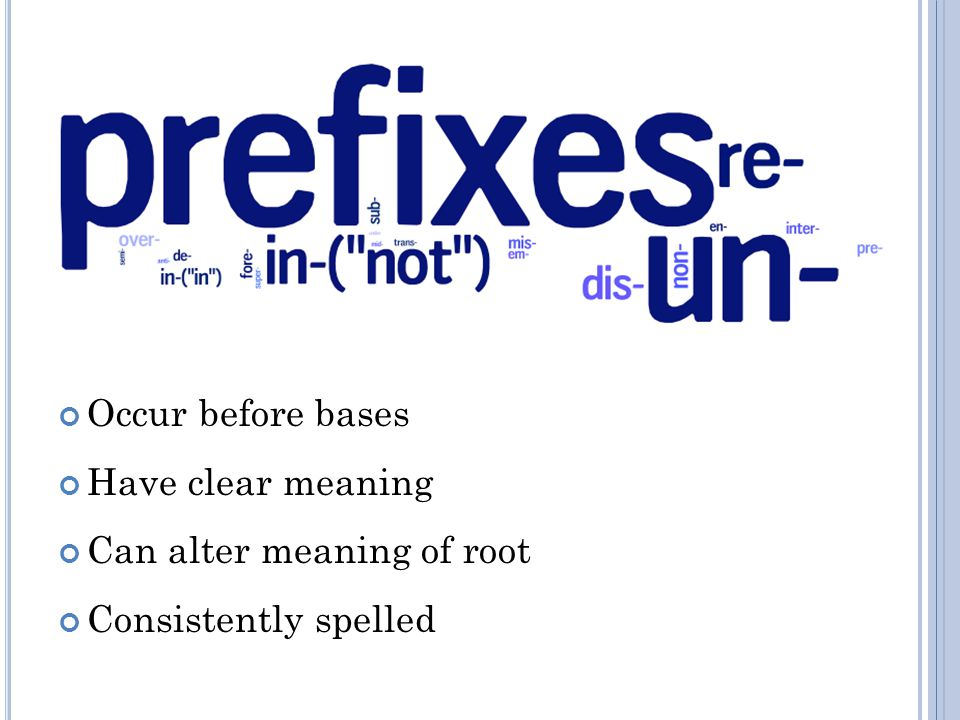Occur before bases Have clear meaning Can alter meaning of root Consistently spelled