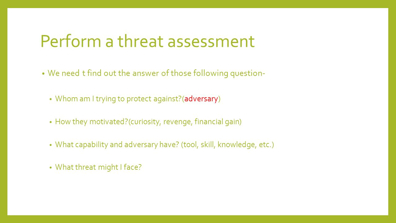 Security analysis What kind of attack is possible.