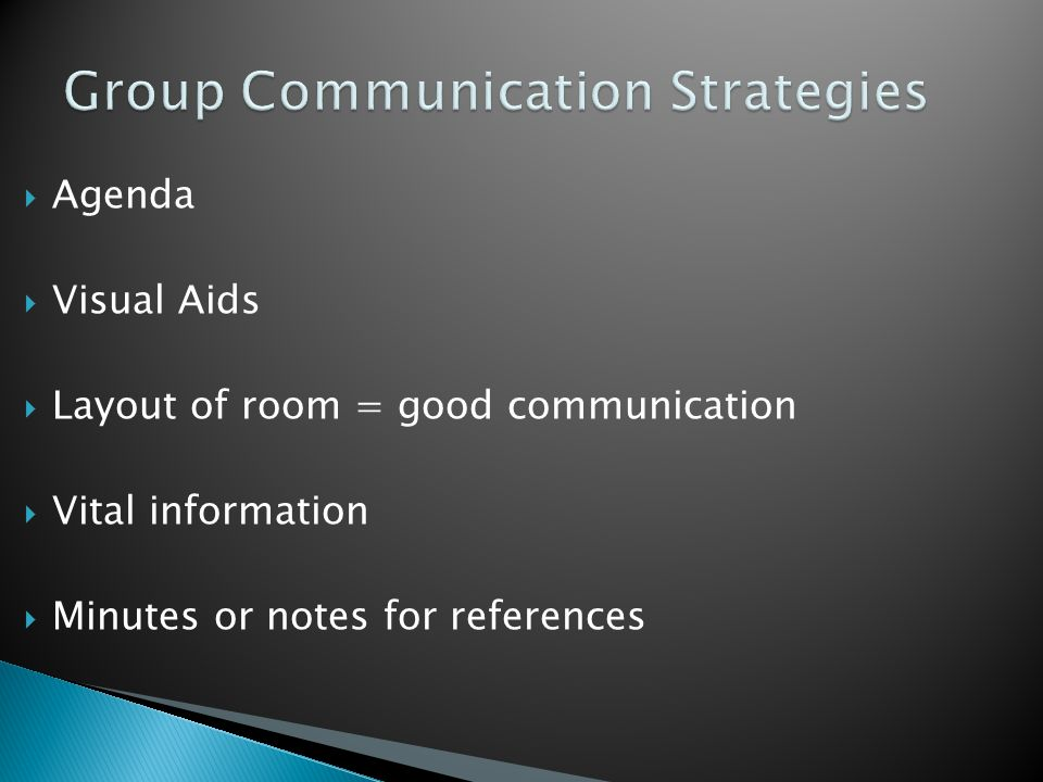  Agenda  Visual Aids  Layout of room = good communication  Vital information  Minutes or notes for references