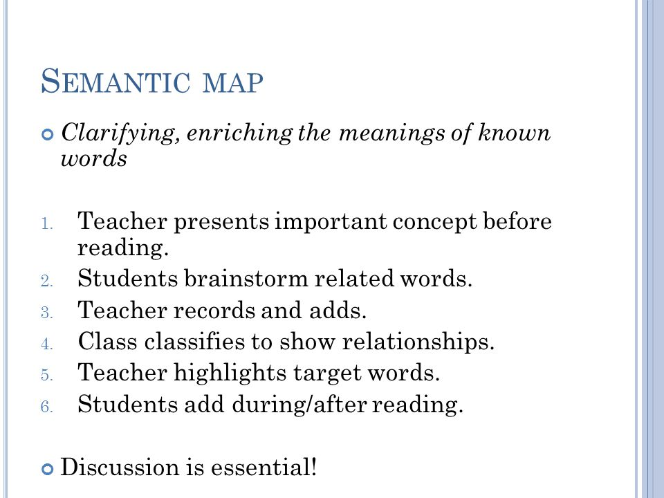 S EMANTIC MAP Clarifying, enriching the meanings of known words 1.