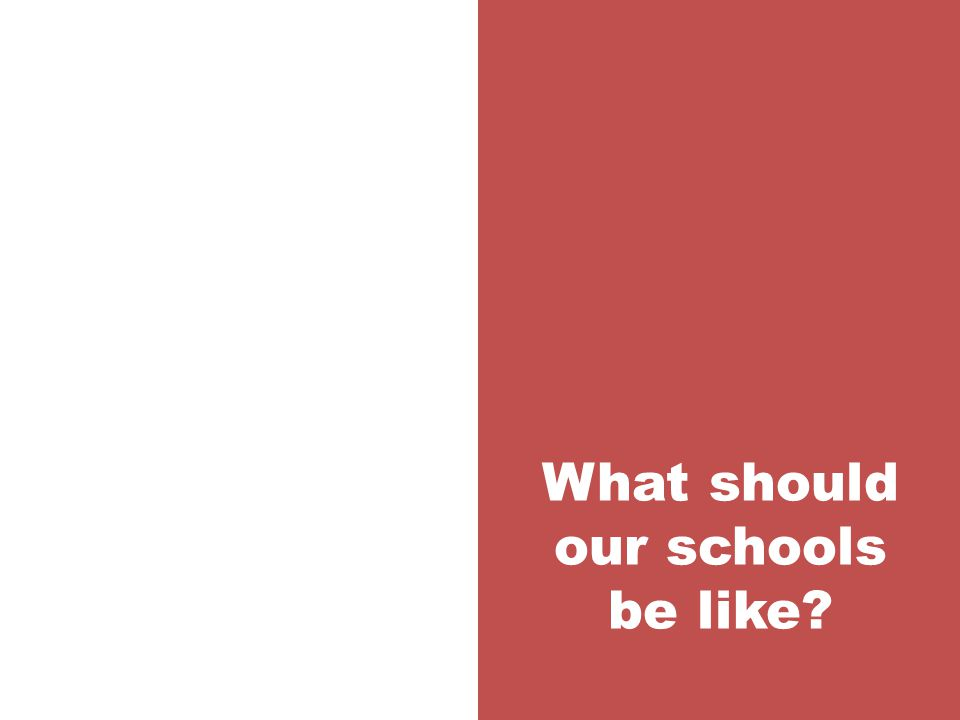 What should our schools be like