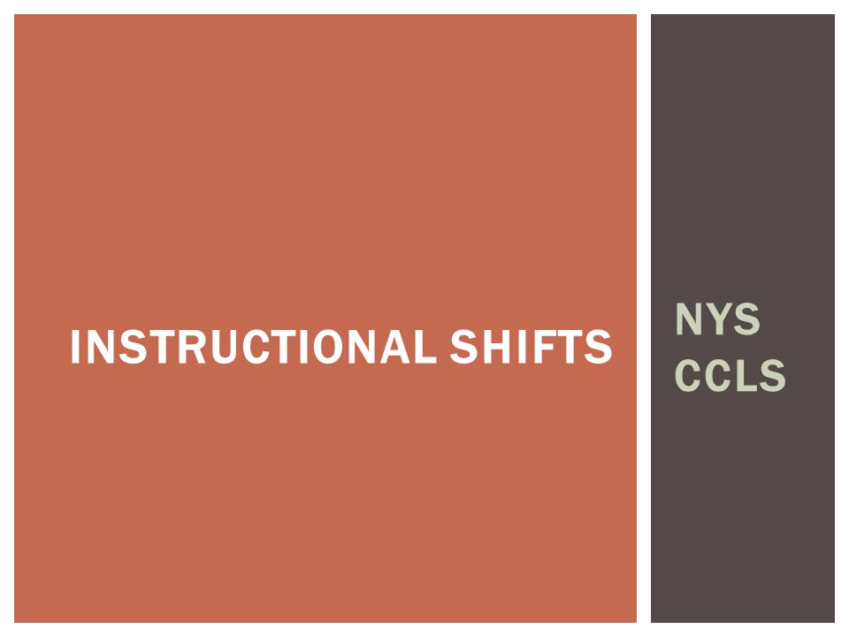 NYS CCLS INSTRUCTIONAL SHIFTS