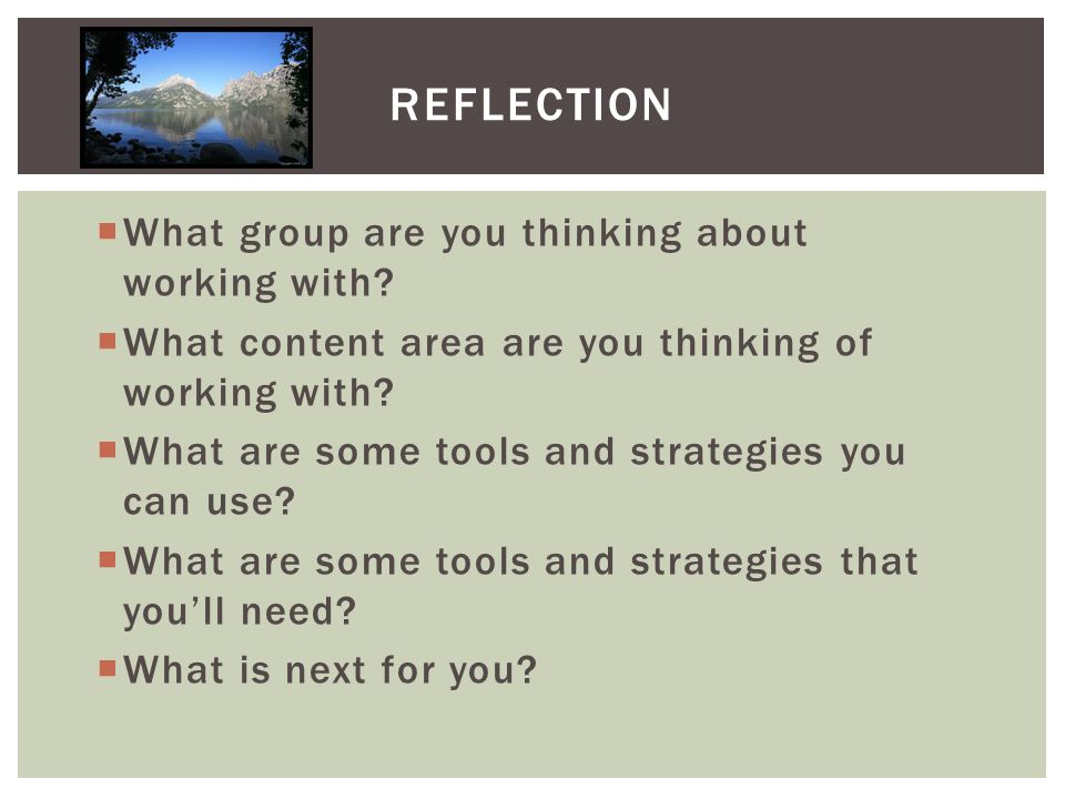  What group are you thinking about working with.