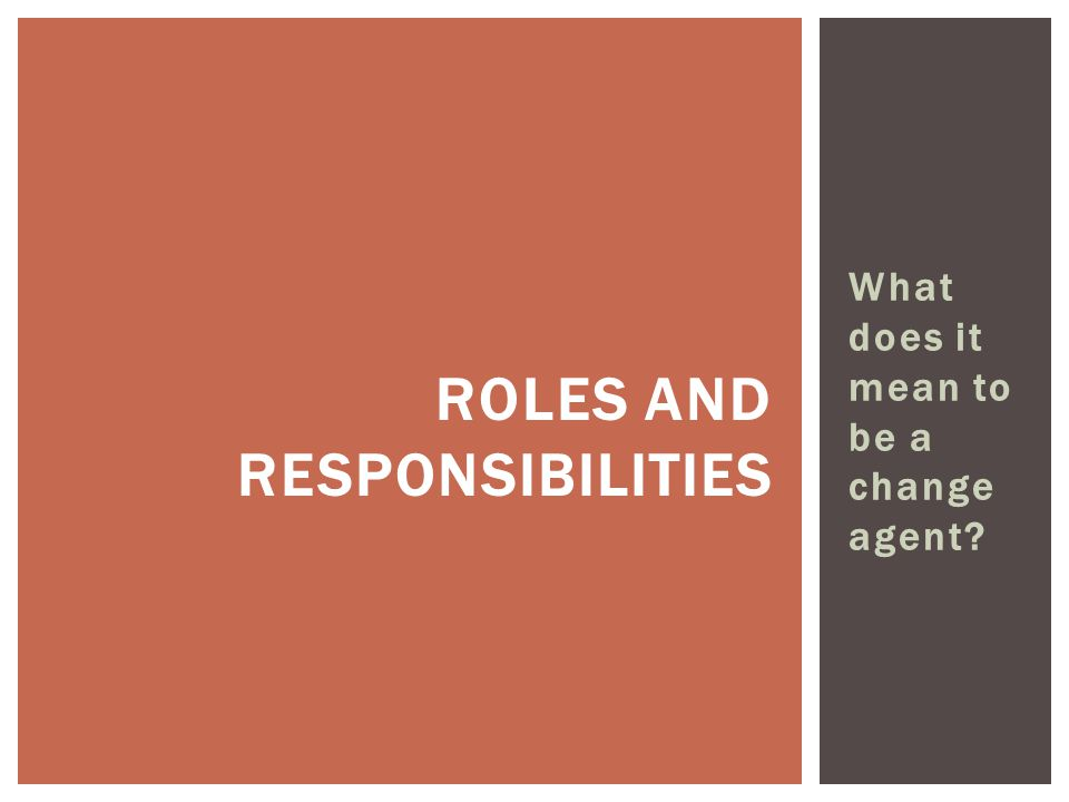 What does it mean to be a change agent ROLES AND RESPONSIBILITIES