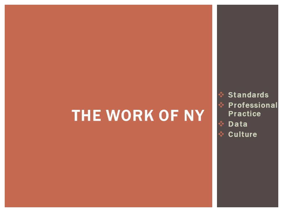  Standards  Professional Practice  Data  Culture THE WORK OF NY