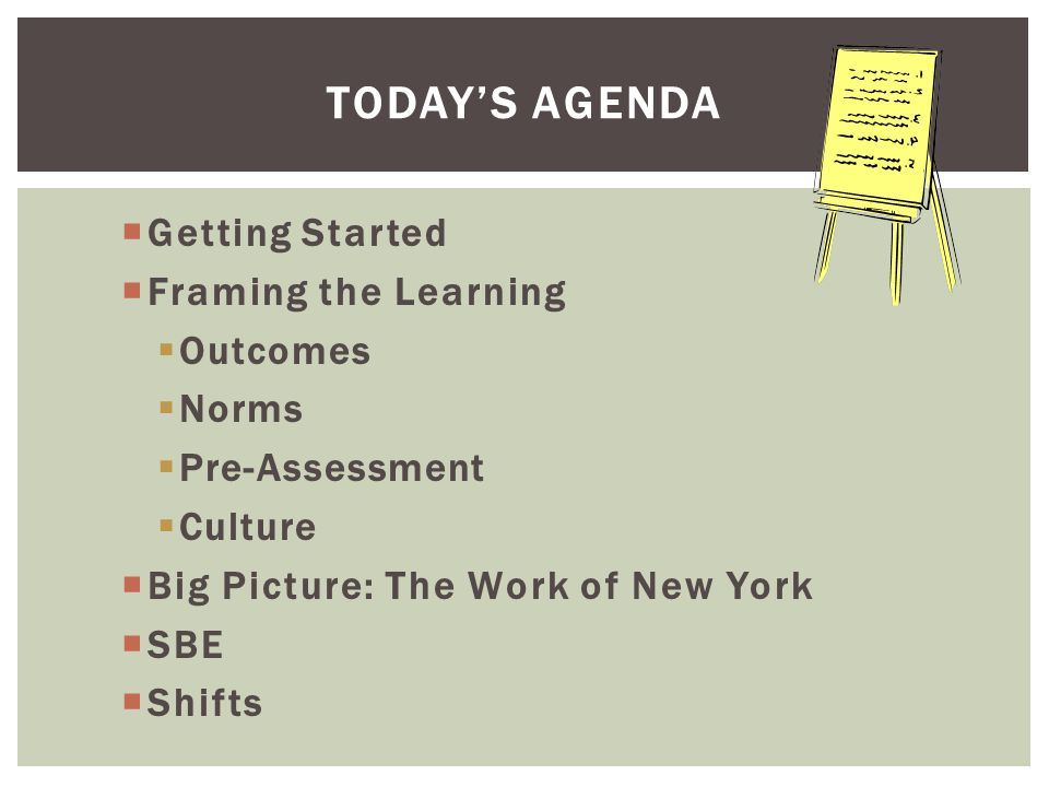  Getting Started  Framing the Learning  Outcomes  Norms  Pre-Assessment  Culture  Big Picture: The Work of New York  SBE  Shifts TODAY'S AGENDA