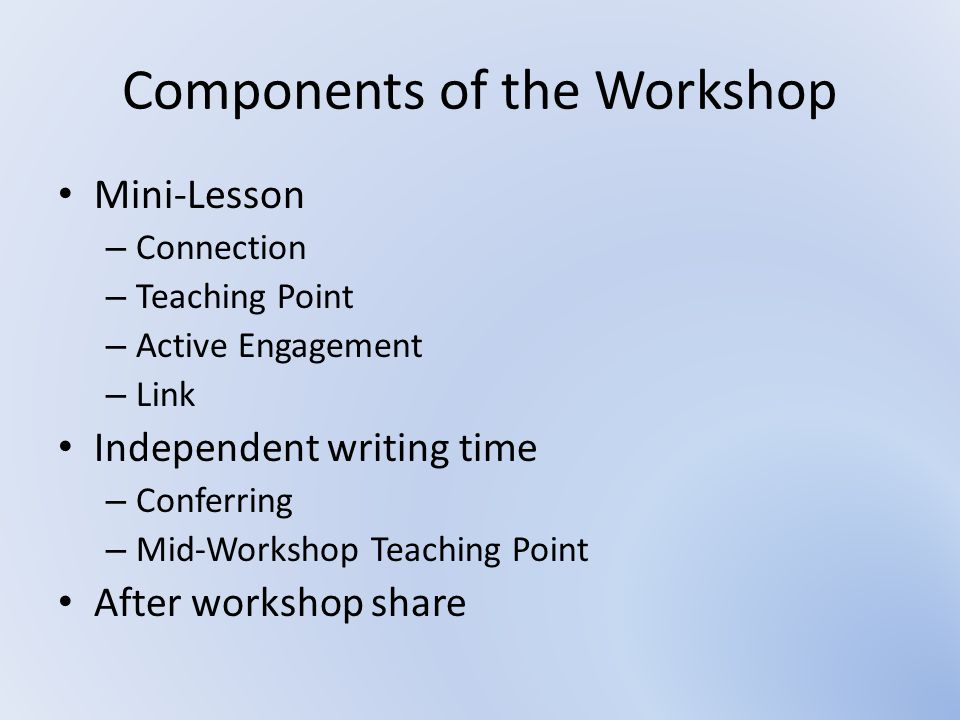 What is Writing Workshop.