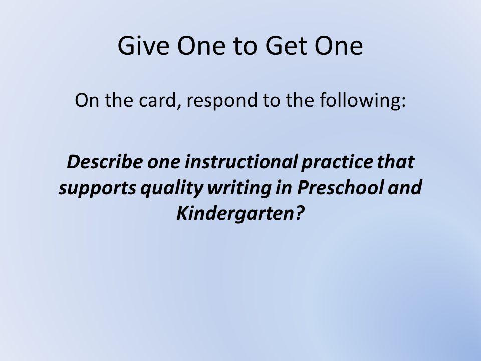 Writing Workshop Pre-school and Kindergarten