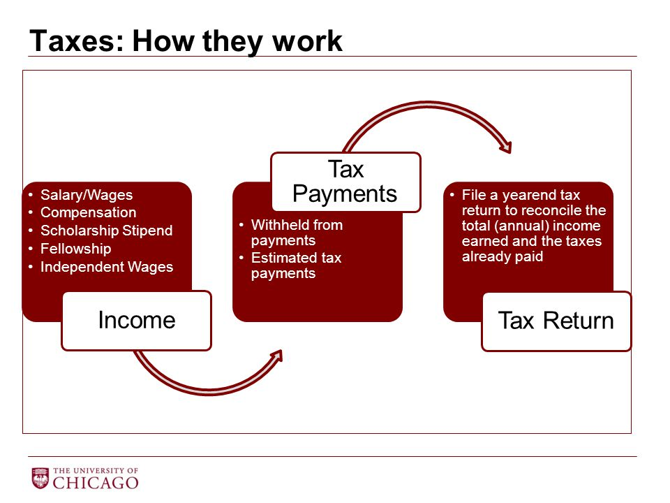 Taxes: How they work Salary/Wages Compensation Scholarship Stipend Fellowship Independent Wages Income Withheld from payments Estimated tax payments Tax Payments File a yearend tax return to reconcile the total (annual) income earned and the taxes already paid Tax Return