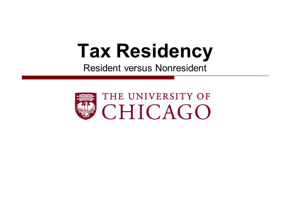 Tax Residency Resident versus Nonresident