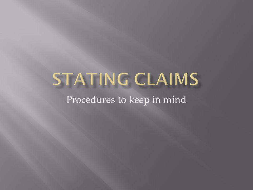 Procedures to keep in mind