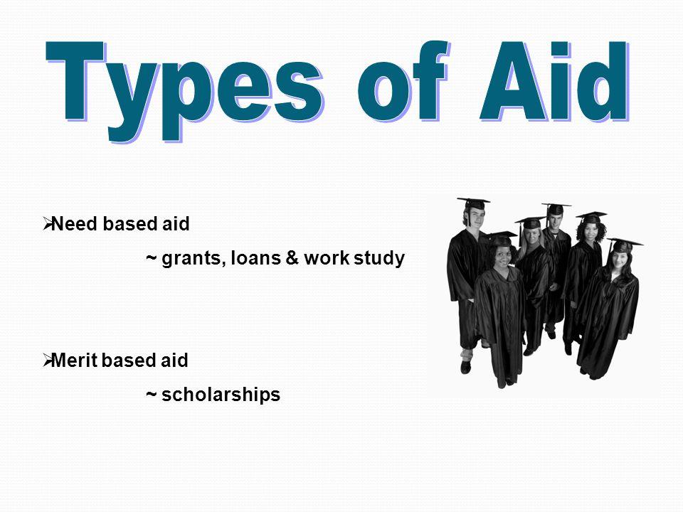Federal Aid  Pell Grant  Campus – Based Programs (vary by school)  Federal Supplemental Educational Opportunity Grant (FSEOG)  Federal Work Study (FWS)  Perkins Loan