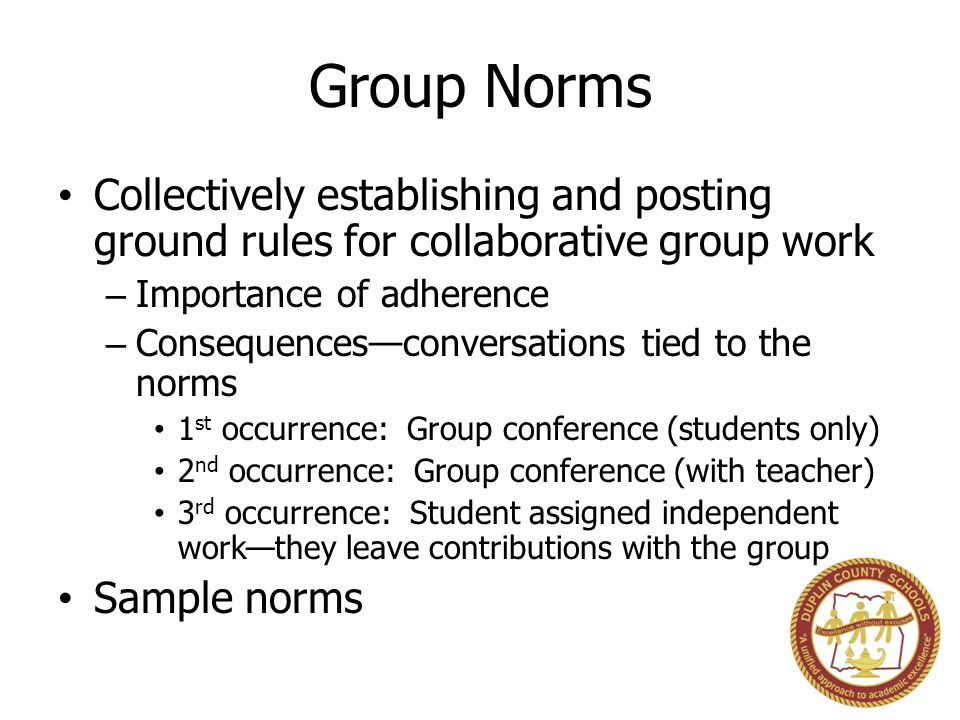 Group Norms Collectively establishing and posting ground rules for collaborative group work – Importance of adherence – Consequences—conversations tied to the norms 1 st occurrence: Group conference (students only) 2 nd occurrence: Group conference (with teacher) 3 rd occurrence: Student assigned independent work—they leave contributions with the group Sample norms