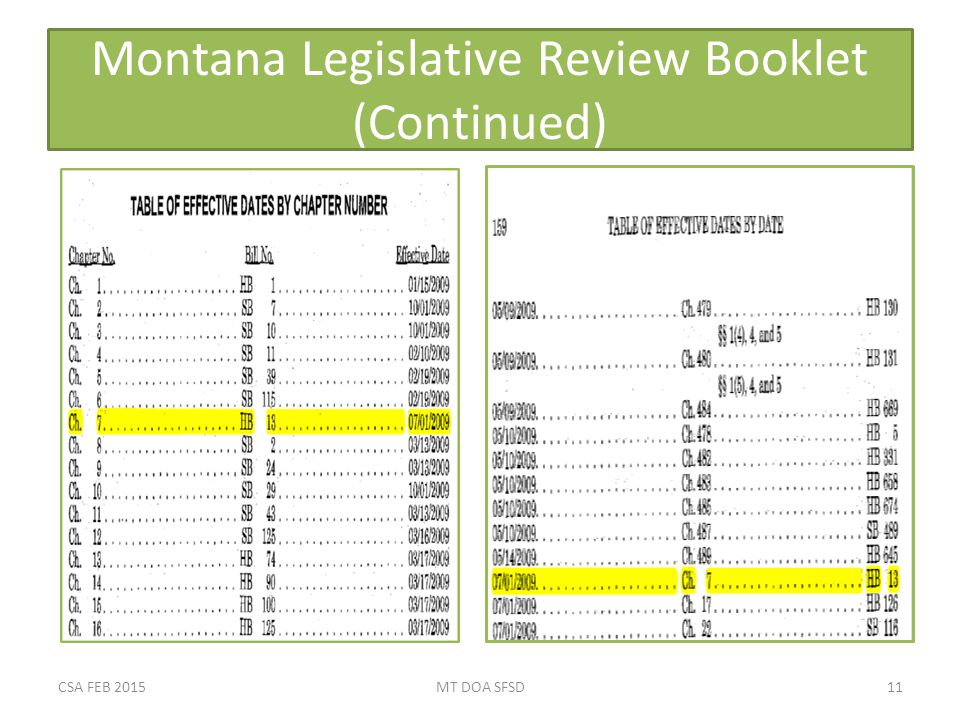 Montana Legislative Review Booklet (Continued) CSA FEB 2015MT DOA SFSD11