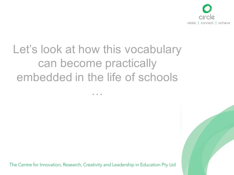 Let's look at how this vocabulary can become practically embedded in the life of schools …